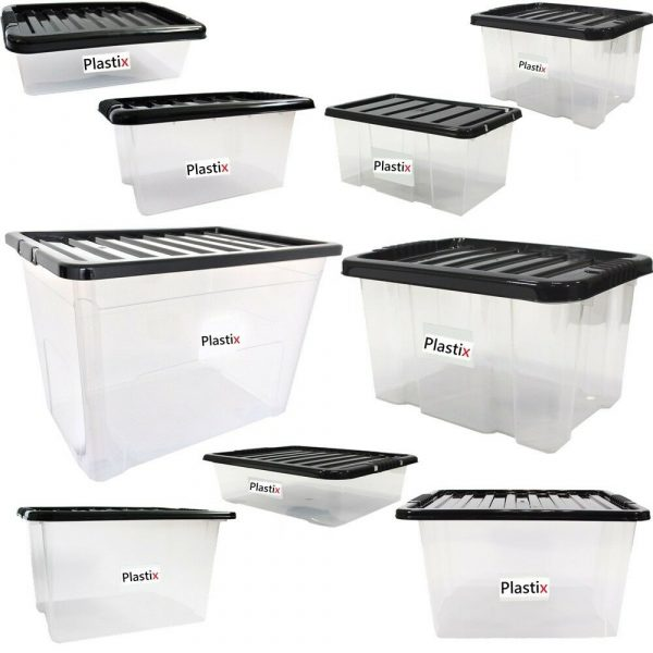 Storage Boxes With Black Lids